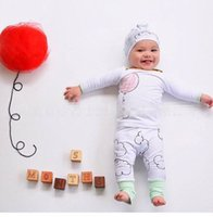 Wholesale Kids Christmas Outfits Cheap - 2016 Ins Newborn Baby Boy Girl Christmas Sets Cloud Hat+Balloon Tops+Cloud PP Pants 3pcs Cotton Outfit cheap high quality kids Set