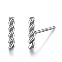 Wholesale rope studs - Genuine 925 Sterling Silver Stud Earring for Women & Man Vintage Twisting Rope Simple Brinco Fine Jewelry Gifts VSE006