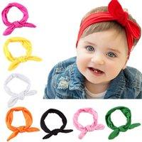 bebek sarma markaları toptan satış-Toptan-SıCAK Marka Moda Bebek Çocuk Kız Tavşan Yay Kulak Hairband Kafa Turban Knot Başkanı Sarar
