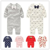 Wholesale Boys Pajamas Size 3t - Baby Jumpsuits Rompers Pajamas Newborn Toddler PP Pants Boys Girls Cotton Leggings Trousers Kids Long Sleeve Bowknot Clothes Wholesale