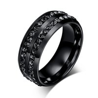 Hot Quality Black Titanium Steel Rings Men Diamond Jewelry Rings Gift 10pcs Factory Price Wholesale From China Frete Grátis