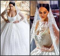 Wholesale elie saab wedding dresses gold - 2016 Cheap Ball Gown lace Vintage Elie Saab Wedding Dresses Ivory Crew Sexy Bridal Wedding Gowns