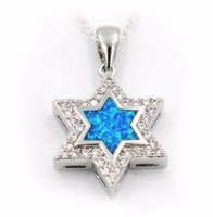 Wholesale Cheap Opal Pendants - Nice Star Of David Blue Fire Opal Pendant Necklace Cheap necklace teal High Quality necklace keychain