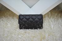 mini plaid court achat en gros de-Portefeuilles en cuir véritable cuir de marque célèbre d'agneau / caviar femmes classique luxe diamant treillis 11CM porte-cartes courtes 50169
