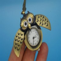 Wholesale Owl Pendant Watches - Bronze Cute Open Close Wing Owl Pendant Necklace Chain Lovely Pocket Watch Gift For Women Girls GR3
