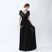 Wholesale Fabric Deco - 2017 Free Shipping Prom Dresses vestidos de noiva Short Sleeves V Neck Appliques Formal Evening Dresses Chiffon Fabric