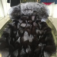 Wholesale Blue Fox Fur Xl - Great quality Mrs Canvas jacket thick Real Fox furs mini ladies parkas with Raccoon fur collar