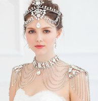 Wholesale Silver Shoulder Wrap Wedding Accessory - Designer Wedding Bridal Jewelry Set Silver Crystal Rhinestone Shoulder Body Chain Necklace Wrap Earrings Set Women Prom Dress Accessories