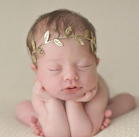 Wholesale gold leaf headbands - 2016 New Fashion Baby Adult Olive Leaves Headbands Gold & Silver Leaf Hair Bands Elasticity for Children Girl Women Head Wrap