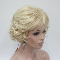 Wholesale light beautiful wig online - charming beautiful new Hot sell Wavy Curly Light Golden Blond Mix Short Synthetic Hair Full Women Thick Wig