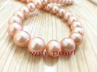 """Wholesale Real Gold White Pearl Necklace - Fine Pearls Jewelry AAAAA 17""""12-13mm round REAL NATURAL south sea GOLD PINK pearl necklace 14K gold"""