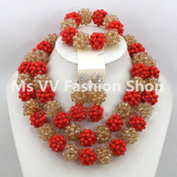 Wholesale American Indian Beaded Necklace - 2016 Latest Luxury Red Champagne Gold African Beaded Jewelry Set Nigerian Wedding Crystal Beads Necklace Set Free Shpping