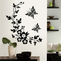 Wholesale Uk Decals Stickers - US UK trendy Bathroom Toilet Decorative Sticker Butterfly Flower Vine Wall Stickers Decals DIY