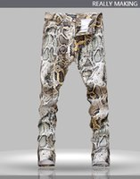 Wholesale Leopard Ties For Men - Wholesale-European and American Style printed jeans for men mens leopard print pants, slim straight denim pants for men Free shipping