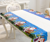 Wholesale Pvc Tablecloths - Christmas Table Cloth PVC Disposable tablecloth Holiday Festival Decorations Party Tools 4 colors 110*180cm table runner 2017 Christmas