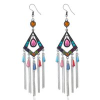 Wholesale Long Chain Colorful Earrings - 2017 New Arrival Long Chain Tassel Vintage-Silver Diamond-shaped Dangle Earrings Multilayer Inlay Colorful Charm Bohemia Earrings for Women