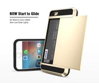 iphone folie fall brieftasche großhandel-Karten-Taschen-Kasten für iPhone X 8 7 6 6S plus für Samsung S8 S7 S6 schieben geräumigen Mappen-Kasten-dünne Rüstungs-Fall