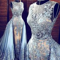 lumières de célébrités achat en gros de-Images réelles Bleu clair Elie Saab Robes de soirée Train détachable Robes de soirée transparentes Parti Pageant Robes Celebrity Prom Long