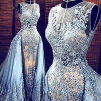 Wholesale Elie Saab Dress Real Pictures - Real Images Light Blue Elie Saab 2015 Evening dresses Detachable Train Transparent Formal Dresses Party Pageant Gowns Celebrity Prom Long