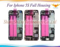 substituição de habitação venda por atacado-Para a apple iphone 5 5g 5s 5c se habitação completa tampa traseira tampa da bateria com botões laterais cabos + peças pequenas peças de reposição de montagem