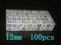 ingrosso dadi bianchi neri-100pcs 12MM dadi bianchi con numero nero Punto rettangolare bianco 12mm dices bosoni Spedizione gratuita IVU