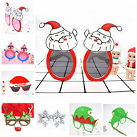 Wholesale hawaii mask - Christmas Sunglasses Santa Claus Snowman Elk Snowflake Shaped Glasses Eye Glasses For Beach Hawaii Costume Beach Party 7 Styles LJJO3199