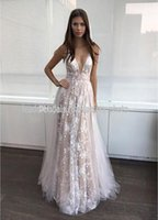 Wholesale Peplum Vintage Bridesmaid Dresses - 2018 Backless Prom Dress Long 2017 Deep V Neck Lace Guest Dresses Evening Wear Formal Party Bridesmaid Gowns Pink Gry Lace Dresses