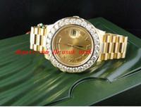 18 mens relógio de diamantes venda por atacado-Relógio de Pulso de luxo Incrível Mens 2 II 18 k 41 MM Ouro Amarelo Diamante Relógio Automático Mens Watch Relógios dos homens de Alta Qualidade