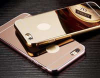 Wholesale Case Pink Iphone 4s Luxury - Aluminum Alloy Bumper Frame For Iphone 7 Plus 6 6s SE 5 5S 4 4S 5C+Luxury Mirror Bling Metallic Hard Case 2 in 1 Hybrid Chromed Skin Cover