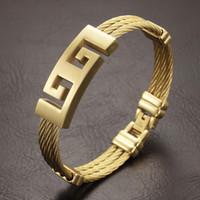 Wholesale Punk Heavy Metal - High Quality gold Color stainless steel men bracelet jewelry punk heavy metal bracelets & bangles Great Wall Pattern Bracelet