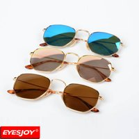 Wholesale copper mirror frame - Brand sunglasses Designer Hexagonal Fashion sunglasses for men women Flat Metal Frame sun glasses óculos de sol