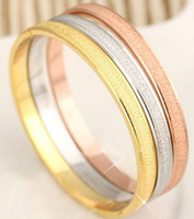 Wholesale Couple Forever - 2016 New Arrival High Quality Scrub fashion Love Forever Bangle platinum 18K Rose gold Plated Bracelet for couple Freeshipping