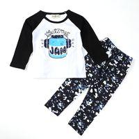 Wholesale Newborn Girls Leggings - Newborn children clothing sets Boys Girls Toddler Kids long sleeve T shirt Tops Leggings Outfit Clothes letter print Sets