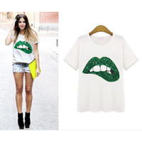 Wholesale Funny Mouths - fashion sex LIP mouth print t-shirts for women tops plus size black crop tops funny print t shirt short sleeve tshirt WT35 WR
