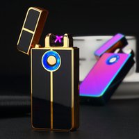 Wholesale arc touch - 2017 New Rechargeable USB Lighter Finger Touch Dual Arc Pulse Lighter Double Fire Cross Electronic Cigarette Lighters Flameless