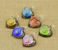 Wholesale murano glass heart pendants resale online - Glass Pendants Necklace D Flower Heart Love Shaped Murano Glass Jewelry Lampwork Glaze Pendant in Cheap