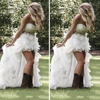 Wholesale Country Girl Sexy - Garden High Low Wedding Dresses With Crystal Beads Ruffles Sweetheart Low Back Bling Wedding Gown 2016 Country Girl Wedding Dresses