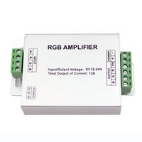 Wholesale controller box for led - Led RGB Amplifier Controller Input dc 5v 12V 24V 24A Signal Repeater 120w 288w 576W for 3528  5050 RGB Led Strip Aluminum Box