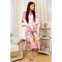 Wholesale Ladies Nightwear Hot - Wholesale- Hot Sale Pink Lady Satin Bathrobe Imitated Silk Robe Gown Japanese Yukata Gown Printed Nightwear Size S M L XL XXL XXXL