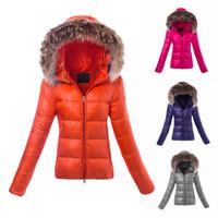 Wholesale Dark Duvet - Duvet Luxury Brand Jacket For Women Real Fur Hood Long Sleeve Slim Female Coat Fashion Cape Anorak