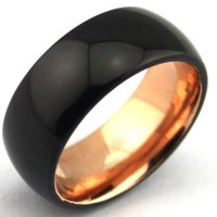 Wholesale Unique Tungsten Rings - Wholesale Black Domed Tungsten Carbide Rings Rose Gold Interior, 8mm Mens Wedding Bands Comfor Fit Unique Wedding ring ifree shipping