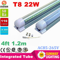Wholesale Cheap Bright Led Lights - LED Tube Light T8 Integrated 4ft 22W cheap wholesale 1.2m LED fluorescent SMD2835 super bright 2200LM AC85-265V CE UL RoHS