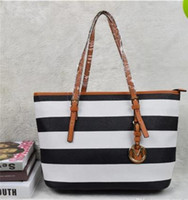 Wholesale Famous K - Women casual rivet stripe Handbags MICHEAL KAIIY M&K fashion women famous brand designer bags PU leather striped travel bag bags