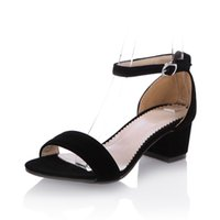 Wholesale Shoe Less Sandals - Wholesale-Summer Casual Dress Shoes Open Toe Chunky Heel Sandals Ankle Strap Less Platform Ladies Roman Shoes Sweet Sexy Cheap Sandals