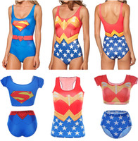 Wholesale Red Sexy One Piece Swimsuit - WONDER WOMAN Swimwear SUPERMAN Swimsuit Sexy Hero Two-Piece Bikinis Super MAN Swim Suit Bathing Wear 3D Print Vest Red Blue Women LNSst