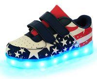 ingrosso bandiera usb-2016 nuovi bambini caricabatterie USB LED luce scarpe bambini discoteca scarpe da ballo ragazzi e ragazze scarpe da ginnastica sneaker moda bandiera nazionale scarpe casual.
