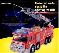 Water Spray Fire Fight Vehicle Crianças Car Electric Car Toys Water Spray Música Fire Truck Simulation Toy Car