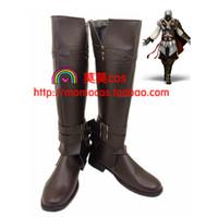Wholesale Ezio Cosplay Costume - Wholesale-Assassin's C reed Edward James Kenway Ezio Auditore Da Firenze Ezio Auditore cos Cosplay Shoes Boots shoe boot #JZ169