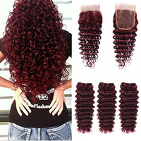 Wholesale Burgundy Red Hair Color Extension - Brazilian 99J Human Hair Weave 100% Virgin Hair Extension Deep Wave Curly Wine Red 3 Bundles Burgundy Hair With 4x4 Lace Closure
