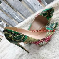 Wholesale Green Snakeskin Heels - 2017 New Green Snakeskin High Heels Brand red Bottom Thin Heel Pointed High Heels Women Shallow Mouth Red Sole Dress Wedding Shoes 33-44